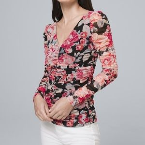WHBM Sheer Ruched Floral Longsleeve Blouse